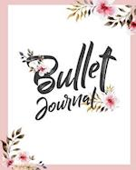 Bullet Journal 150 Pages Dotted Grid Paper, 8x10 Large Notebook with Cover Light Pink White Watercolor Flower Ornament