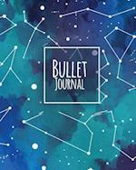 Bullet Journal 150 Pages Dotted Grid Paper, 8x10 Large Notebook with Cover Darkness Teal Blue Constellation Patterned