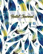 Bullet Journal 150 Pages Dotted Grid Paper, 8x10 Large Notebook with Boho Watercolor Feather Blue Yellow