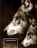 White Wolf Mystical Moon - Composition Notebook