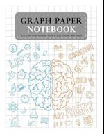 Graph Paper Notebook 1/2 Inch Gray Squares Size 8.5x11 Inches 120 Pages