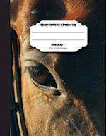 Composition Notebook Unruled 8.5 X 11 Inch 200 Page, Brown Horse