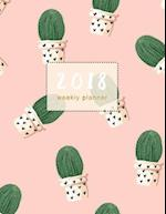 2018 Planner Weekly Monthly Cactus
