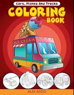Cars, Planes and Trucks Coloring Book