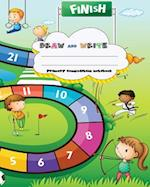 Draw and Write Primary Composition Notebook, 8 X 10 Inch 200 Page, Cute Sport Board Game for Children