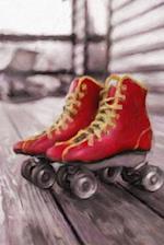 Red Roller Skates - Lined Notebook with Margins