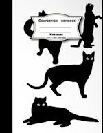 Composition Notebook Wide Ruled 200 Pages, 8.5 X 11 Inch, Black Cat