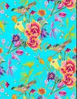 My Big Fat Bullet Journal Bird in Flowers Pattern on Blue