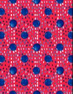 Big Fat Journal Notebook Indigo Blue Ink Spots and Dots on Red