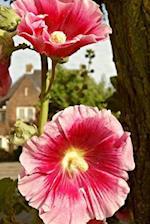 Pink Hollyhock Flowers in the Garden Journal