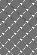 Journal Notebook White Quilted Hearts Pattern 9