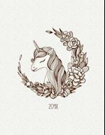Vintage Unicorn 2018 Weekly Monthly Planner