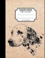 Composition Notebook Graph Ruled Paper 8.5x11 200 Page 4x4 Grid Per Inch, Vintage Dalmatian Dog