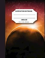 Composition Notebook Unruled 8.5x11 Inch 200 Page, Midnight Space Eclipse