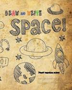 Draw and Write Primary Composition Notebook, 8x10 Inch 200 Page, Space Drawing Vintage Paper
