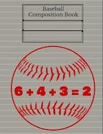 Baseball Double Play Composition Book, Graph Paper, 4x4 Grid