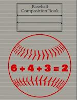Baseball Double Play Composition Book, Graph Paper, 5x5 Grid