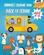 Animals Coloring Book Back to School