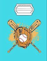 Dreaming of Baseball, Baseball Glove with Ball and Bats Composition Book