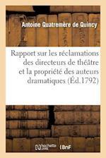 Rapport Approuve Par Le Comite D'Instruction Publique de L'Assemblee Legislative af Quatremere De Quincy-A