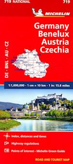 Michelin Germany, Benelux, Austria, Czech Republic Road and Tourist Map (Michelin Maps, nr. 719)