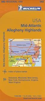 Michelin Map Mid-Atlantic Allegheny Highlands / Michelin Etats-Unis Atlantique centre Allegheny Highlands