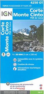 TOP25: 4250OT Corte - Monte Cinto, Parc National de Corse (IGN TOP25, nr. 4250)