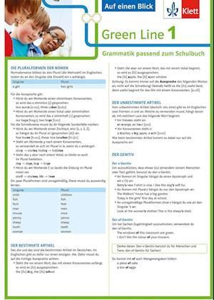 Green Line 1 G8 und G9 Klasse 5 - Auf einen Blick. Grammatik passend zum Schulbuch - Klappkarte (6 Seiten)