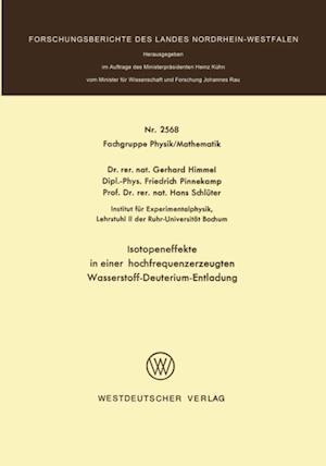 Isotopeneffekte in einer hochfrequenzerzeugten Wasserstoff-Deuterium-Entladung af Gerhard Himmel
