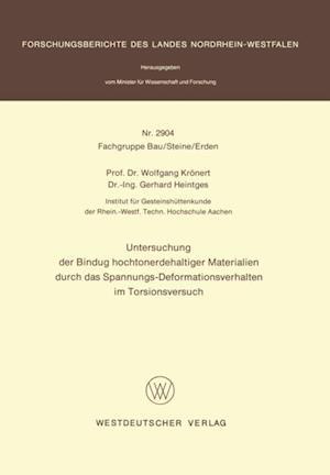 Untersuchung der Bindung hochtonerdehaltiger Materialien durch das Spannungs-Deformationsverhalten im Torsionsversuch af Wolfgang Kronert
