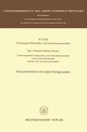 Konsumfunktionen fur textile Fertigprodukte af Rainer Giersch
