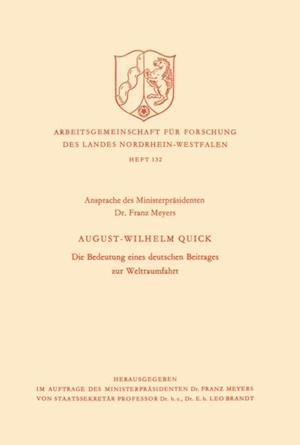 Die Bedeutung eines deutschen Beitrages zur Weltraumfahrt af August Wilhelm Quick