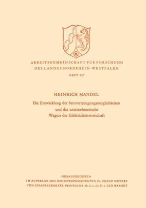 Die Entwicklung der Stromerzeugungsmoglichkeiten und das unternehmerische Wagnis der Elektrizitatswirtschaft af Heinrich Mandel