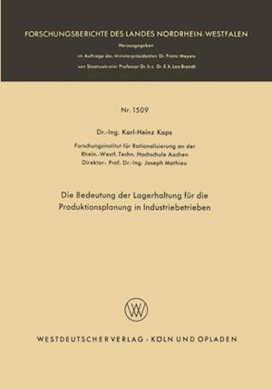 Die Bedeutung der Lagerhaltung fur die Produktionsplanung in Industriebetrieben af Karl-Heinz Kaps