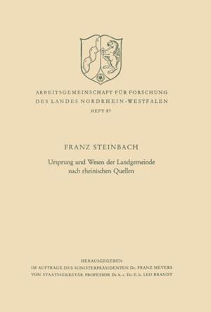 Ursprung und Wesen der Landgemeinde nach rheinischen Quellen af Franz Steinbach