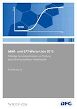 MAK und BAT-Werte-Liste af Deutsche Forschungsgemeinschaft (DFG)