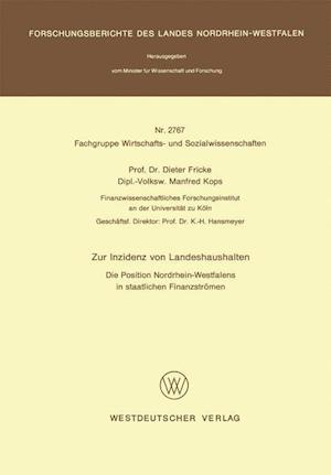 Bog, paperback Zur Inzidenz Von Landeshaushalten af Dieter Fricke