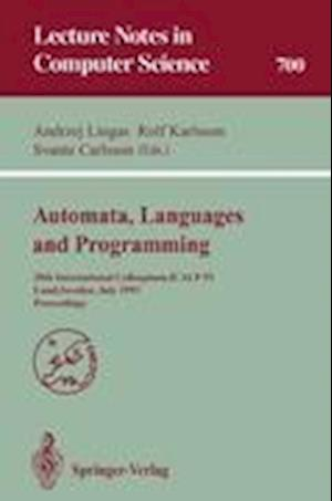 Automata, Languages and Programming : 20th International Colloquium, ICALP 93, Lund, Sweden, July 5-9, 1993. Proceedings