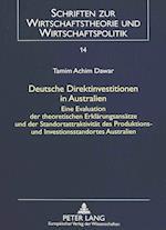 Deutsche Direktinvestitionen in Australien (Schriften Zur Wirtschaftstheorie Und Wirtschaftspolitik, nr. 14)