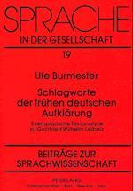 Schlagworte Der Fruehen Deutschen Aufklaerung (Sprache in Der Gesellschaft, nr. 19)