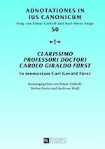 Clarissimo Professori Doctori Carolo Giraldo Fuerst (Adnotationes in Ius Canonicum, nr. 50)