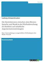Die Korrelationen Zwischen Den Ebenen Sprache Und Musik in Der Horfunkwerbung Im Hinblick Auf Inhaltliche Argumentationsstrategien af Ludwig Schwarztrauber