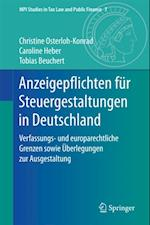 Anzeigepflichten fur Steuergestaltungen in Deutschland (MPI Studies in Tax Law and Public Finance)