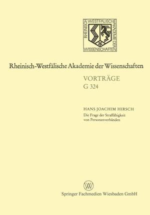 Die Frage der Straffahigkeit von Personenverbanden af Hans Joachim Hirsch