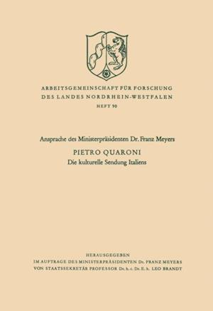 Die kulturelle Sendung Italiens af Pietro Quaroni