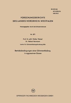 Betriebsbedingungen einer Glimmentladung in aggressiven Gasen af Walter Weizel