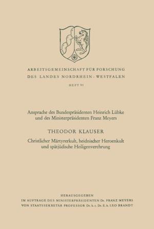 Christlicher Martyrerkult, heidnischer Heroenkult und spatjudische Heiligenverehrung af Theodor Klauser
