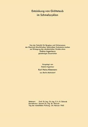 Entzinkung von Gichtstaub im Schmelzzyklon af Karl-Heinz Schenck