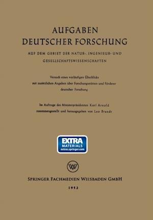 Aufgaben Deutscher Forschung af Karl Arnold, Leo Brandt