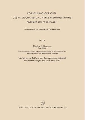 Verfahren zur Prufung der Korrosionsbestandigkeit von Messerklingen aus rostfreiem Stahl af Hans Studemann